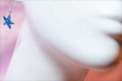スターフィッシュ(ヒトデ) ブルーオパール装飾 立体星型デザイン レディース ハワイアンジュエリー シルバー925 アメリカンフック ピアス