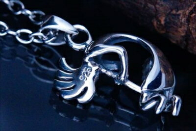 ココペリ(精霊)3D立体型デザイン 天然石・ターコイズ装飾 メンズ&レディース インディアンジュエリー シルバー925 ペンダント ネックレス
