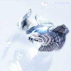 和風 滝登り鯉(出世魚)ウェーブ背びれとリアル鱗のフリーサイズシルバーリング
