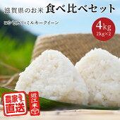 米お米食べ比べセットコシヒカリミルキークイーン(2kg×2種計4kg)令和2年滋賀県産近江米白米玄米送料無料少量味比べ
