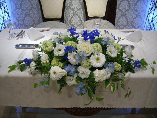 サムシングブルーメインテーブル装花