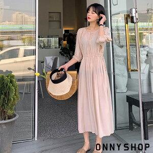 【MERONGSHOPメロンショップ】ネックボタンリネンストリングシフォンワンピースP000CAOD韓国ファッション韓国ファッションレディース