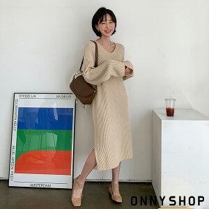 【MERONGSHOPメロンショップ】ブイハッチニットロングワンピースP000CICP韓国ファッション韓国ファッションレディース