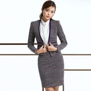 ♪レデイースファッション スカートスーツ 上品 優雅 フォーマルスーツ 着痩 スーツ ママ お…