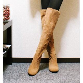 ニーハイブーツインヒールブーツレディースウェッジロングブーツファスナー大きいサイズ美脚スエード黒アーモンドトゥ8cmヒールカジュアルシューズハイヒール靴秋冬新作
