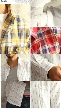 ワッフル素材綿麻リネンシャツメンズ長袖ストライプボーダーチェックシャツメンズファッショントップスカジュアルシャツ薄手清涼感きれいめ