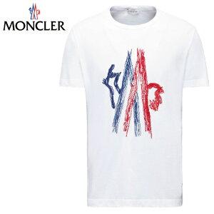 MONCLERモンクレール2017年春夏新作メンズTシャツホワイトロゴトップスブランド高級アウター