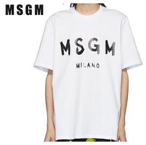 MSGMエムエスジーエムホワイト&ブラックアーティストロゴTシャツ191443M213019