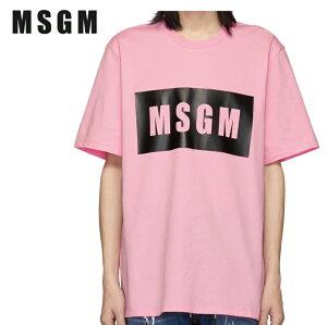 MSGMエムエスジーエムピンクボックスロゴTシャツ191443M213016