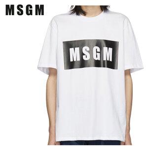 MSGMエムエスジーエムホワイトボックスロゴTシャツ191443M213011
