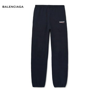 BALENCIAGAバレンシアガTaperedLogo-PrintFleece-BackCotton-BlendJerseySweatpantsボトムスネイビースウェット2018-2019年秋冬