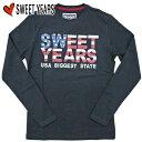【5%OFF!!】[Sweet Years]スウィートイヤーズ 2012-2013年秋冬新作 USA ロゴ 長袖TシャツSYU626 ネイビー
