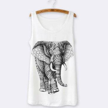 【送料無料】象 tシャツ タンクトップ ノースリーブ おしゃれ イラスト アニマル 動物 プリント かわいい