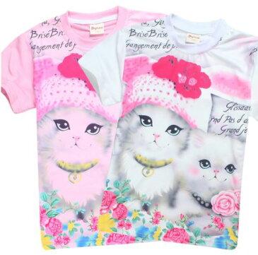 【送料無料】キッズ 子供服 子供 Tシャツ イラスト 女の子 ガールズ 猫 かわいい トップス ホワイト ピンク