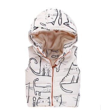 キッズ 子供 男の子 女の子 トップス パーカー アウター ベスト ジャケット 子供服 ノースリーブ かわいい イラスト かわいい 猫 ねこ ネコ グッズ 雑貨