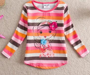 【送料無料】Tシャツ 長袖 ボーダー キッズ 女の子 子供服 トップス かわいい イラスト