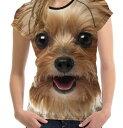 【送料無料】犬 ヨーキー ヨークシャテリア Tシャツ レディース トップス かわいい ユニーク 個性的 リアル いぬ イヌ グッズ