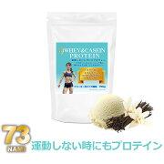 73ホエイ&カゼインプロテイン運動しない時にもプロテインクリーミーなバニラ風味750g(約30回分)