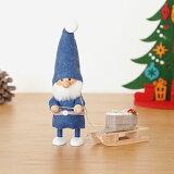 ノルディカニッセ そりを引いた青い服のサンタ フェルトシリーズ 青 NORDIKA nisse クリスマス 雑貨 木製 人形 北欧 NRD120084