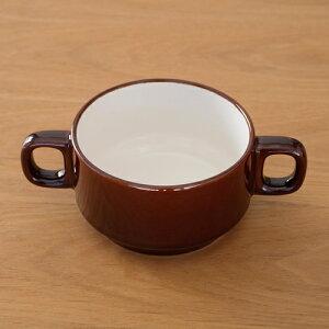 【期間限定ポイント10倍】 PORCELAIN ポーセリン スープカップ 両手 陶器 300ml 日本製 塗り分け ブラウン 飴色 おしゃれ カフェ A6998
