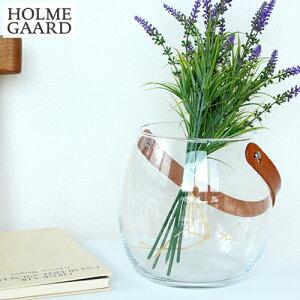 ホルムガードDesignWithLightポットクリアH16cmガラスポットレザーハンドル革花瓶フラワーベース北欧