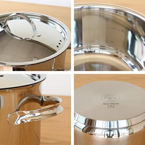 OPA Mari キャセロール フタ付き オパ マリ 1.5L IH対応 軽量 両手鍋 ステンレス製 鍋 食洗機対応 北欧 フィンランド