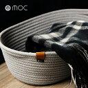 moc モック ロープストレージ ロープバスケット M MOC-RPBM(ストレージ バスケット 収納バスケット 衣類 収納 かご 布 おしゃれ 北欧 カゴ グレー 収納かご 楕円形 パジャマ入れ)