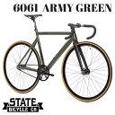 ピストバイク 完成車 ステイトバイシクル STATE BICYCLE 6061 ARMY GREEN 【自転車 バイク スポーツバイク 完成品 アルミ 軽量 カスタム カスタムバイク ベース フリーギア 固定ギア 初心者 シンプル おしゃれ 緑 アーミーグリーン】 その1