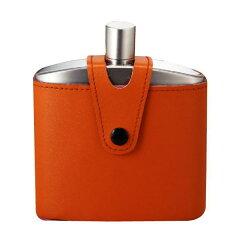 バッカス ウイスキーボトル 170ml (本革ケース付)18-8ステンレス製 携帯型ウイスキー入れ...