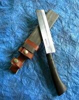 佐治武士作梨地磨本鍛造鉈白鷹195mm両刃和式ナイフ木鞘入