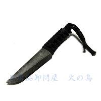 【送料無料】卓上ナイフ涼月黒紐巻刃70mm粉末ダマスカス鋼革ケース入登山ナイフ、アウトドアナイフ、渓流ナイフに