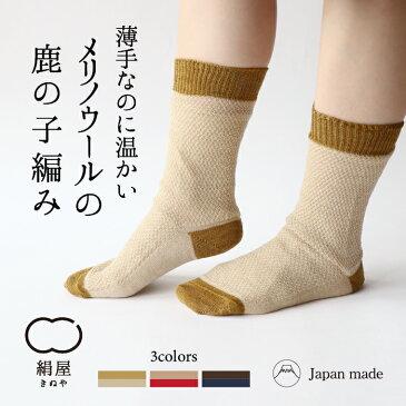 【絹屋】2足重ね履き靴下 ウール 鹿の子編み (4766)2足セット 冷えとり靴下 冷え取り 編み柄 シルク ウール 5本指 靴下 くつした ソックス レディース 女性 あったか 温かい 日本製