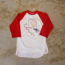 80'sAppleUSA製ピカソデザインラグランTシャツL80年代アメリカ製ヘルスニットアップル企業Technology【古着】【ヴィンテージ】【中古】【メンズ店】
