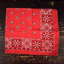 60'sGUARANTEEDFASTCOLORバンダナ60年代コットンハンカチ赤花柄【古着】【ヴィンテージ】【中古】【メンズ店】