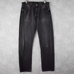 90'sLevi's501USA製ブラックデニムパンツW3390年代リーバイスアメリカ製黒ジーンズジーパン【古着】【ヴィンテージ】【中古】【メンズ店】