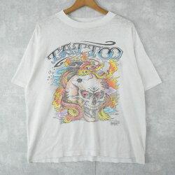 """80's""""TATTOO""""ドラゴンプリントTシャツ80年代龍プリントTシャツ白ホワイト【古着】【ヴィンテージ】【中古】【メンズ店】"""