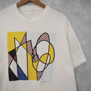 "90'sRoyLichtenstein""BestBuddies""ポップアートプリントTシャツ90年代90sロイ・リキテンスタイン白ホワイト画家アートTシャツ芸術アーティスト【古着】【ヴィンテージ】【中古】【メンズ店】"