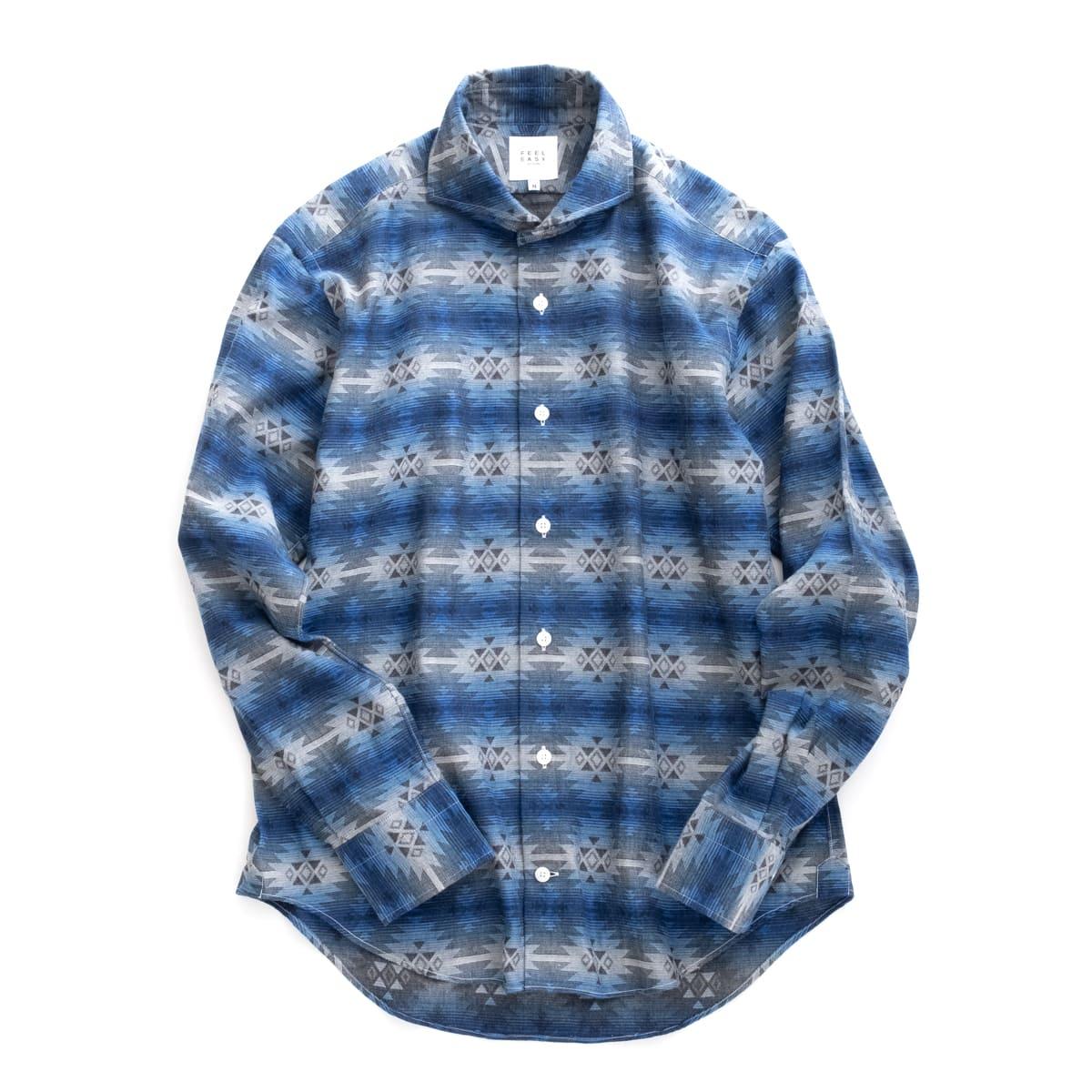トップス, カジュアルシャツ FEEL EASY ORIGINAL TRIVAL JACQUARD SHIRT (Blue) FE-SH-7116