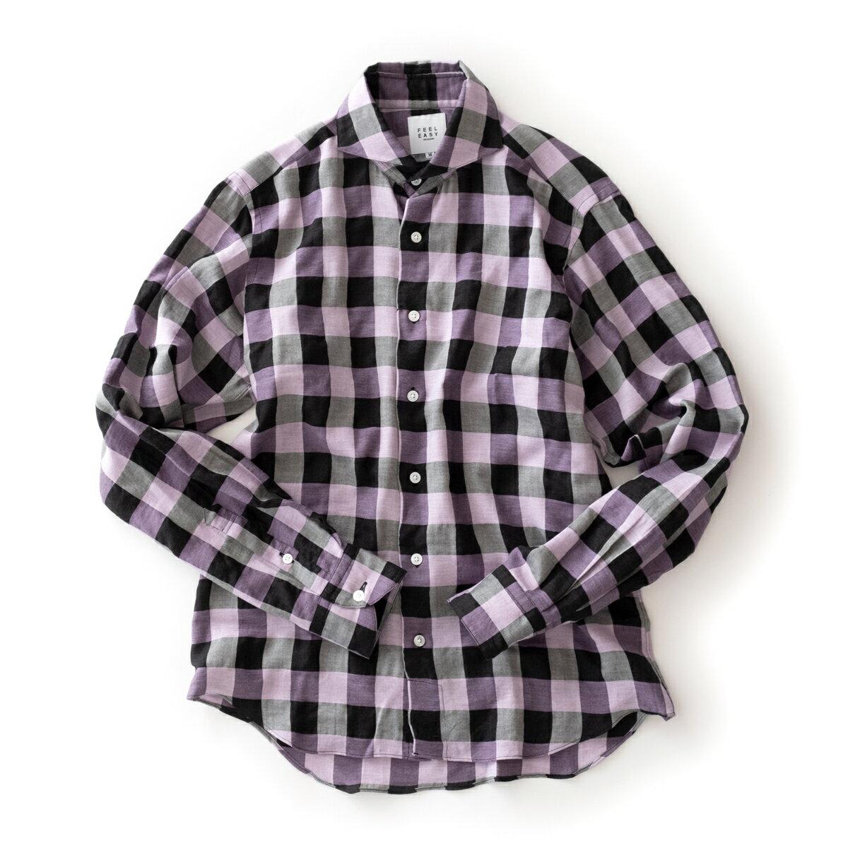 トップス, カジュアルシャツ FEEL EASY ORIGINAL BLOCK CHECK TENCEL SHIRT (Purple) FE-SH-7110
