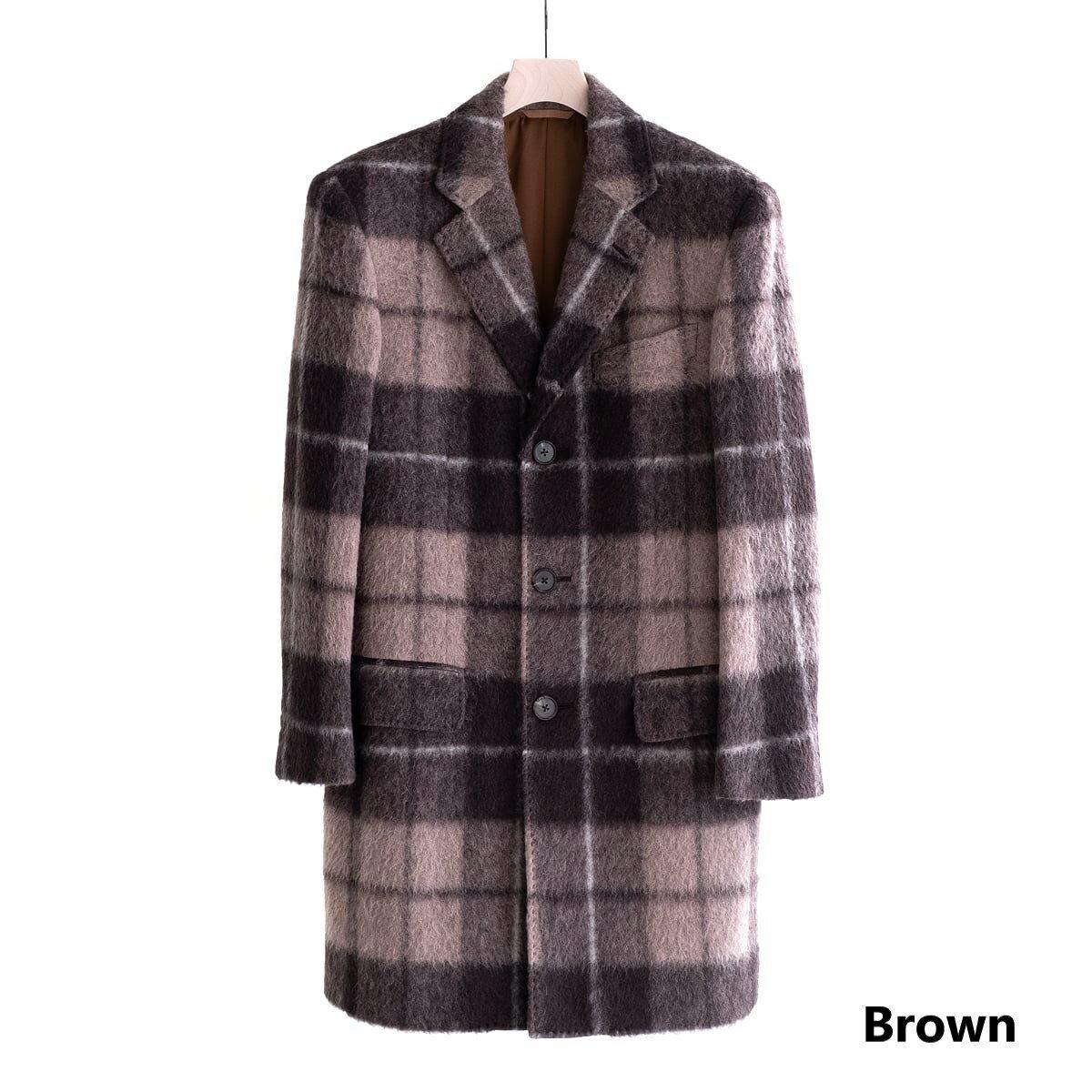 メンズファッション, コート・ジャケット FEEL EASY ORIGINAL MADRAS CHECK MOHAIR CHESTER COAT (2) FE-CO-7201