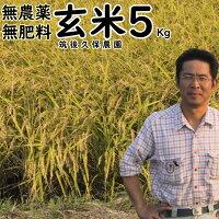 無農薬無肥料栽培米5Kg//玄米|福岡県産夢つくし筑後久保農園無農薬玄米自然栽培米