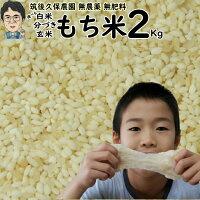 無肥料栽培もち米2Kg 福岡県産ひよくもち筑後久保農園選べる玄米分づき白米