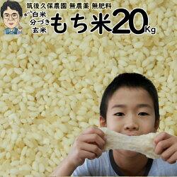 無肥料栽培もち米20Kg|福岡県産ひよくもち筑後久保農園選べる玄米分づき白米