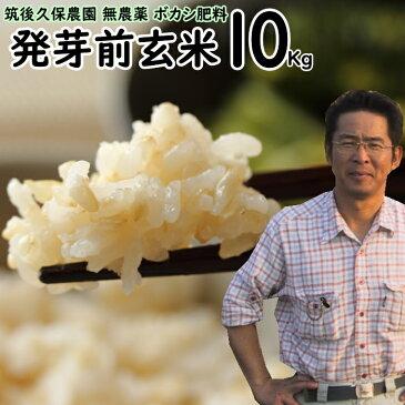 ボカシ肥料栽培 発芽前玄米 10Kg 福岡県産 元気つくし0.5分づき米筑後久保農園