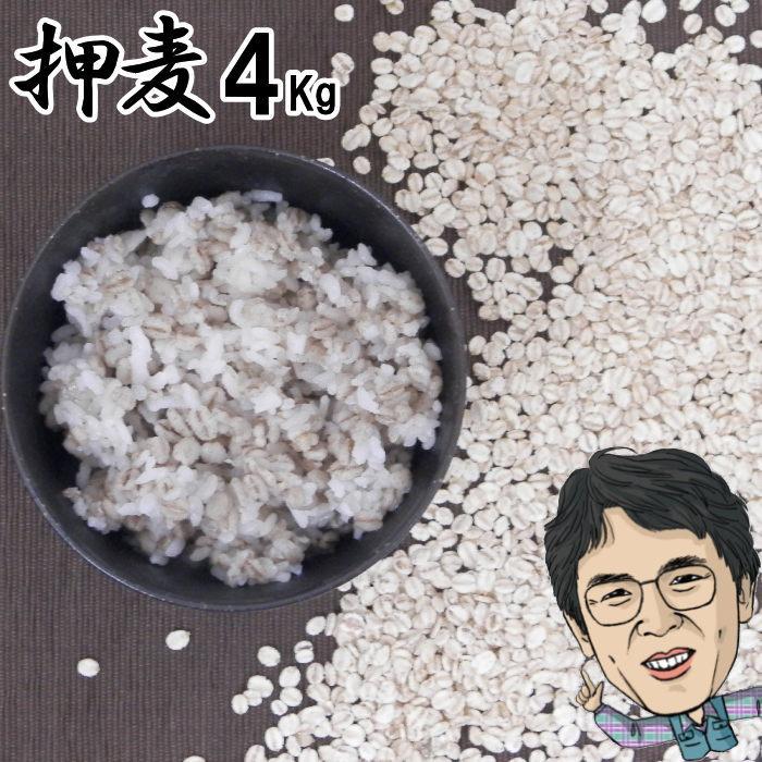 押麦 4Kg|無農薬 大麦福岡県産筑後久保農園ご飯と一緒に炊いて麦ご飯味噌造り用丸麦