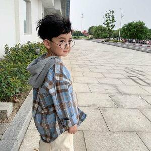 パーカーチェックシャツ 異素材トップス 長袖 パーカー シャツ キッズ 女の子 男の子 チェックシャツ 110-160 子供服 子供 こども 80-140 21 SS ピンク ブルー オレンジ