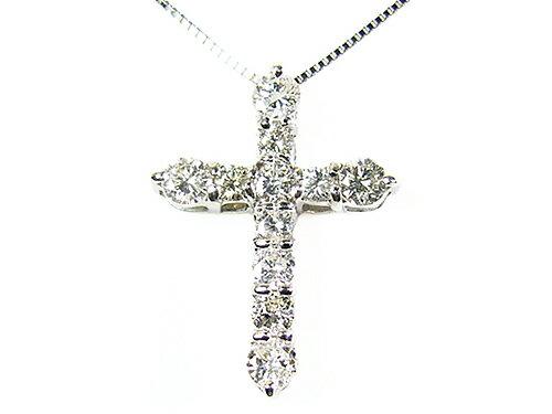 天然ダイヤモンド1ctネックレス/クロス/ホワイトゴールド/芦屋ダイヤモンド:Felice 幸福屋