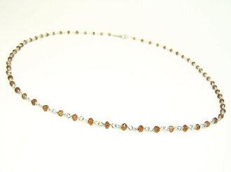 天然石榴石和傑瑞項鍊 / 925 純銀項鍊