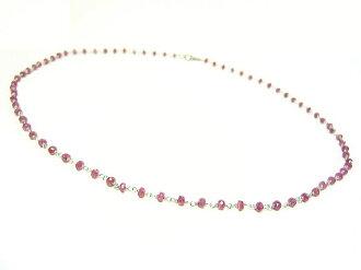 天然紅寶石和傑裡項鍊 / 925 純銀項鍊