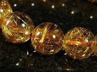 鑑別書付き!コパー(ローズゴールド)ルチルクォーツ(銅針水晶)天然石パワーストーンブレスレット11mm/1点もの